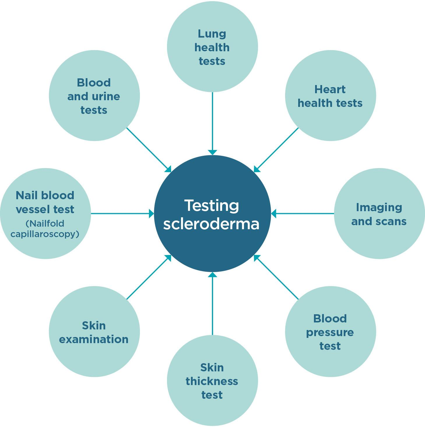 Diagram of scleroderma tests