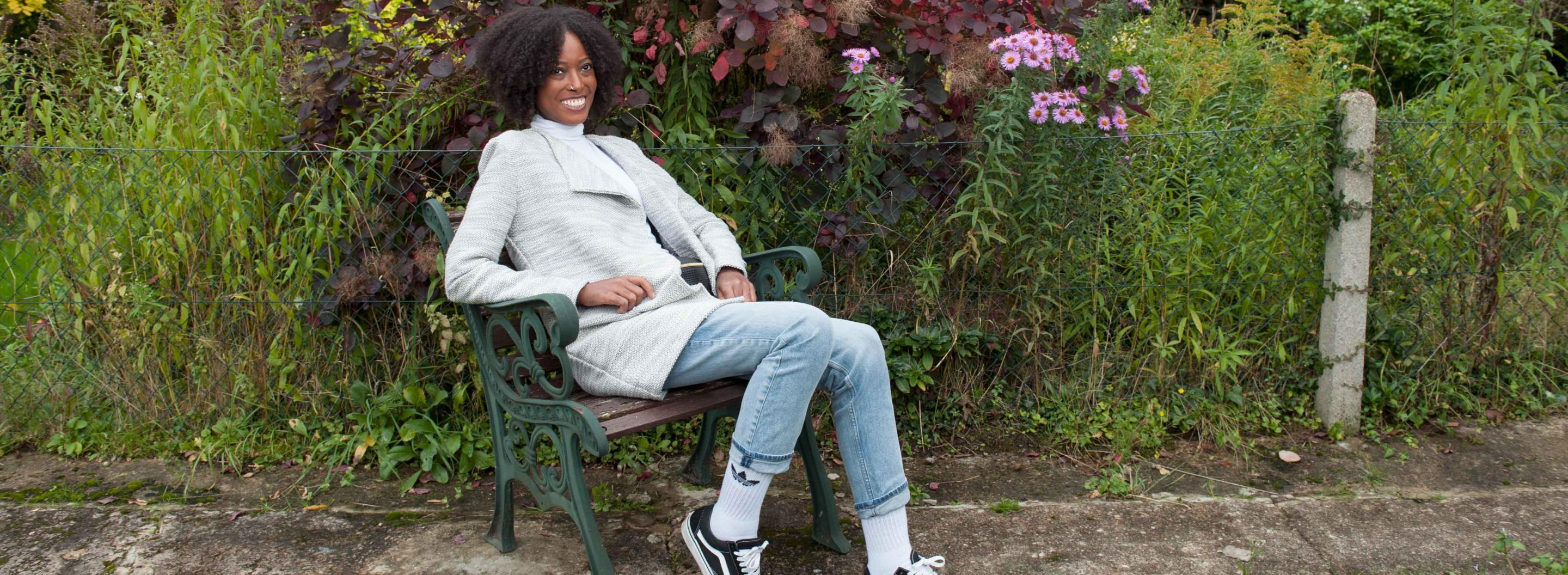 Woman with scleroderma on bench