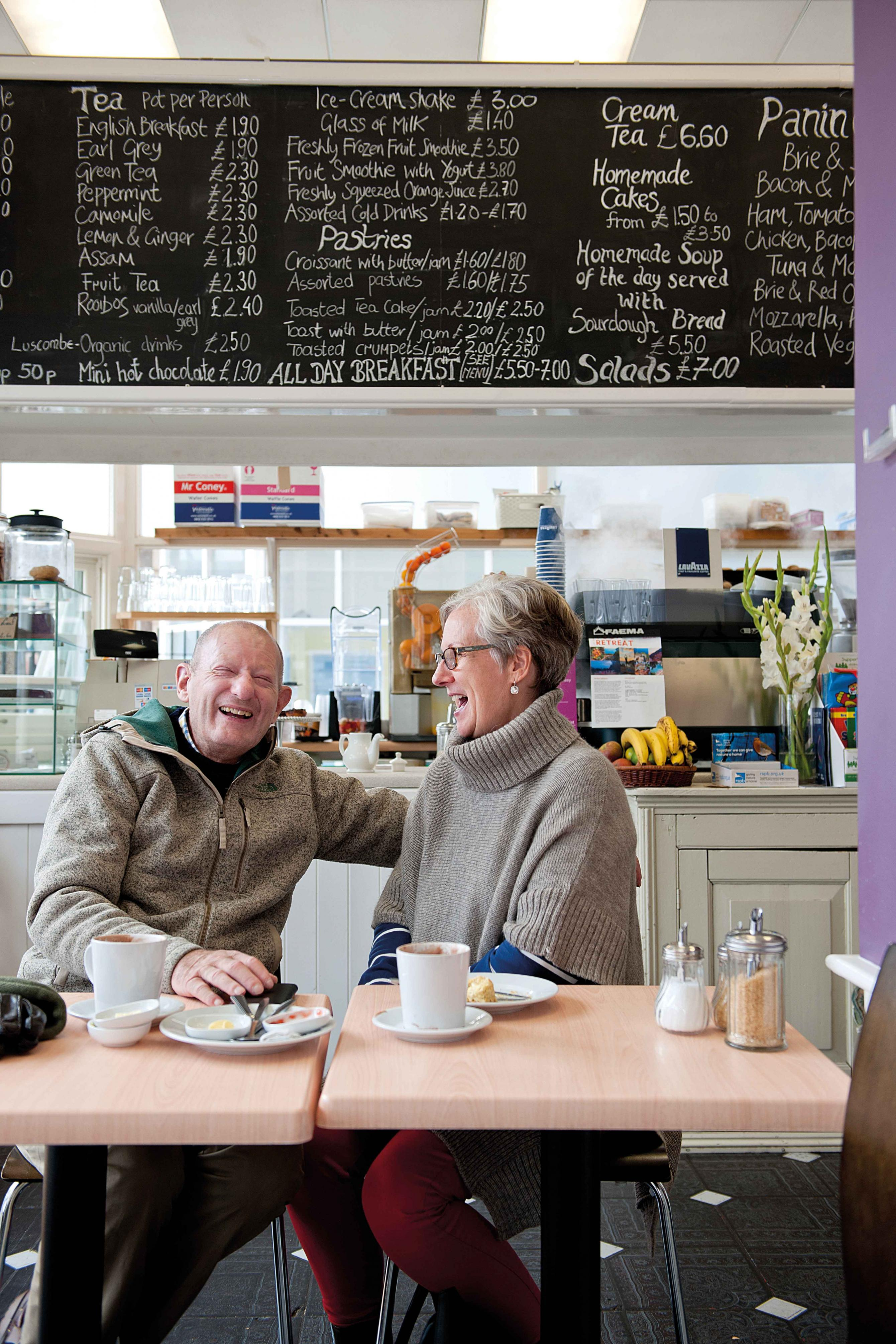 Mike with his wife Alison in a café