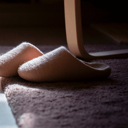 slippers on the floor