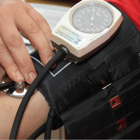 Patient receiving blood pressure test