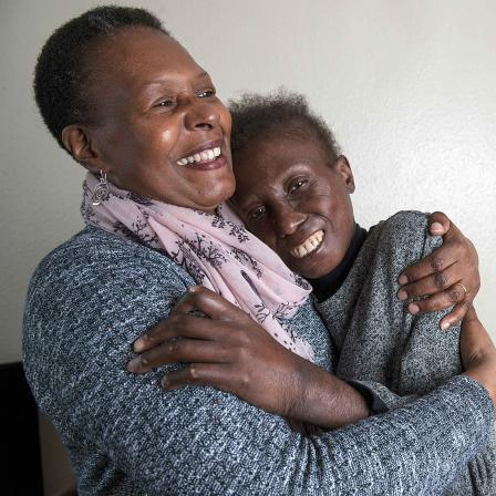 Doris, a scleroderma patient with friend