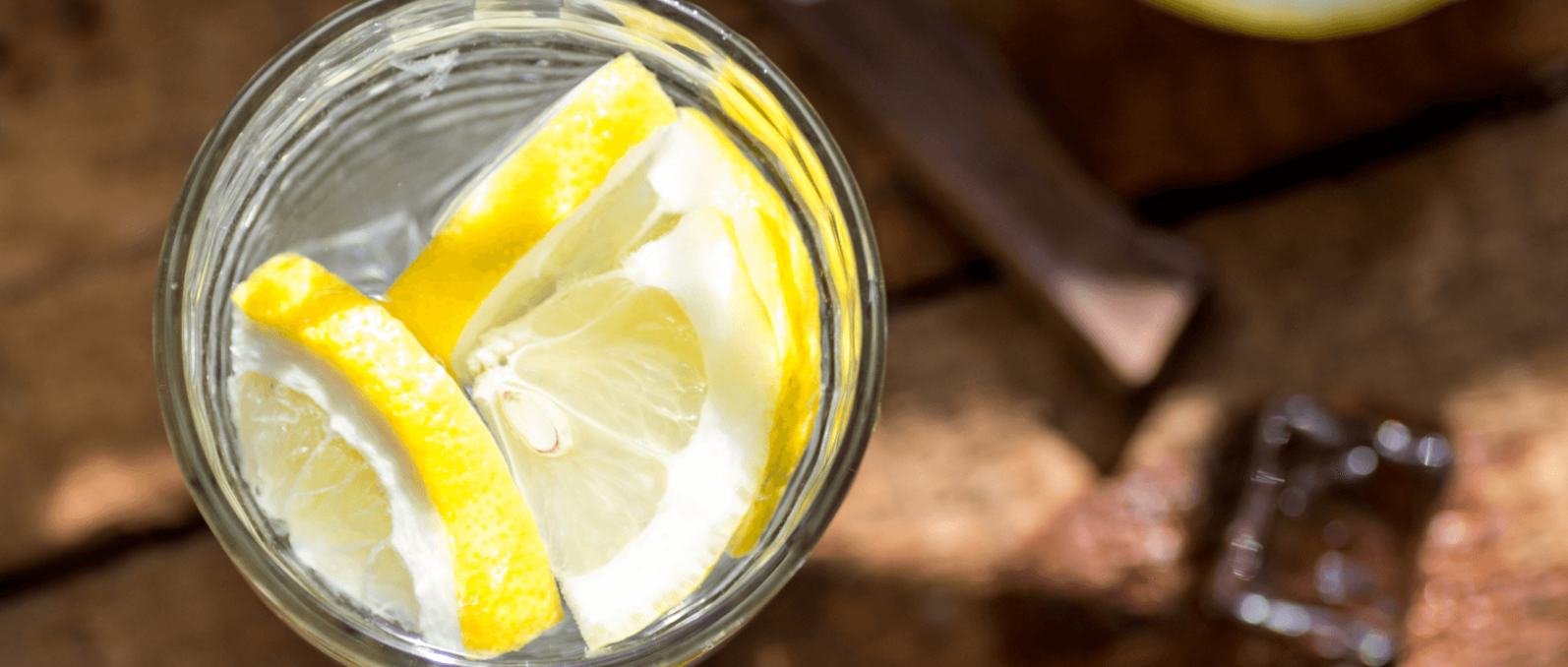 glass with water and lemon
